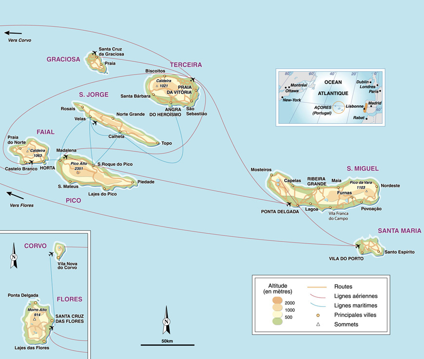 Carte géographique et touristique des Açores, Ponta Delgada