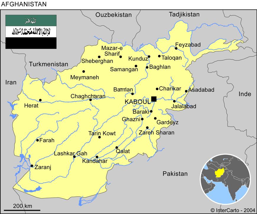 Carte géographique et touristique de l'Afghanistan, Kaboul
