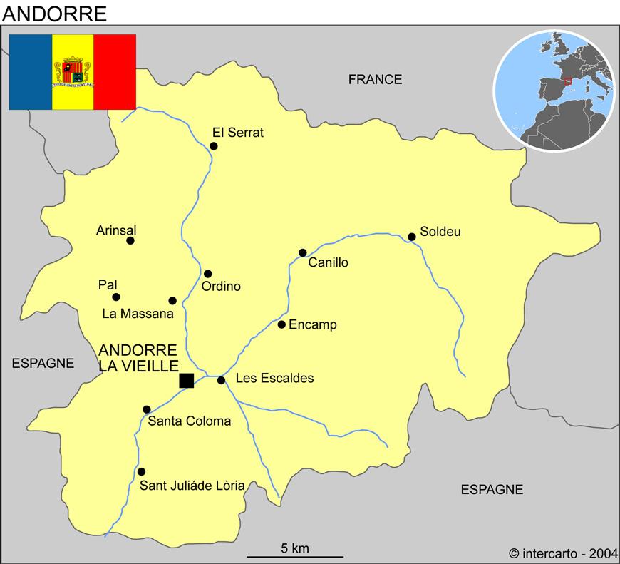 Carte géographique et touristique de l'Andorre, Andorre la Vieille ...