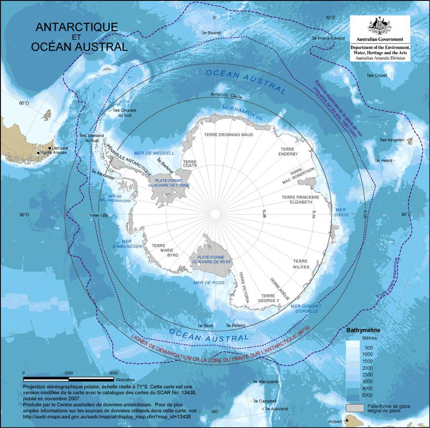 Carte géographique et touristique de l'Antarctique, Antarctica