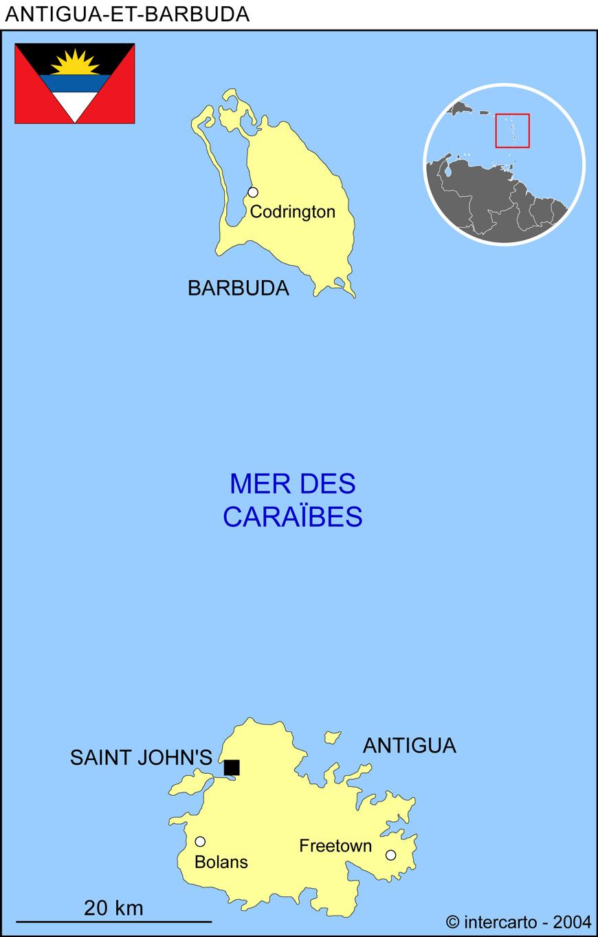 Carte géographique et touristique d'Antigua et Barbuda, Saint