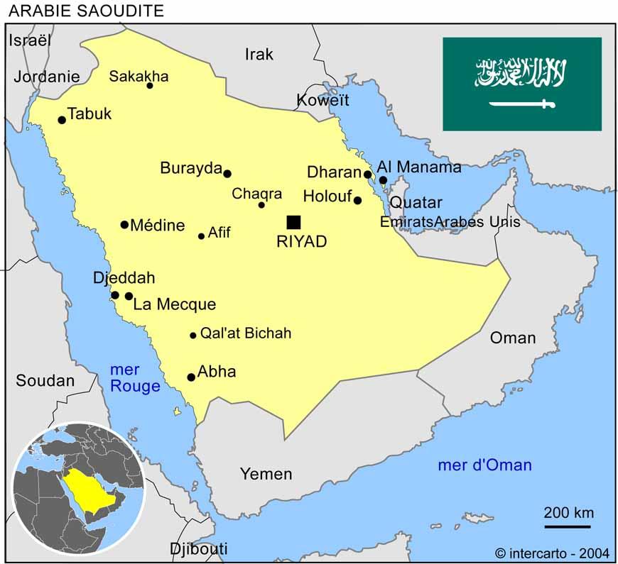 Carte géographique et touristique de l'Arabie Saoudite, Riyad