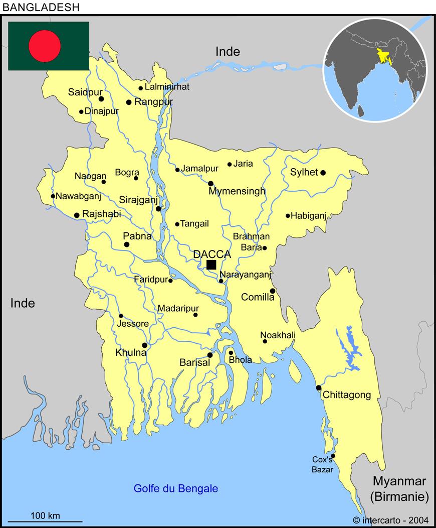 Carte géographique et touristique du Bangladesh, Dacca. Géographie