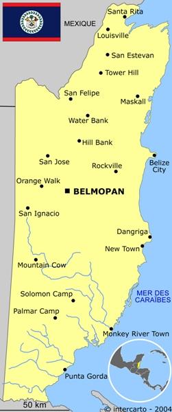 Carte géographique et touristique du Bélize, Belmopan. Géographie