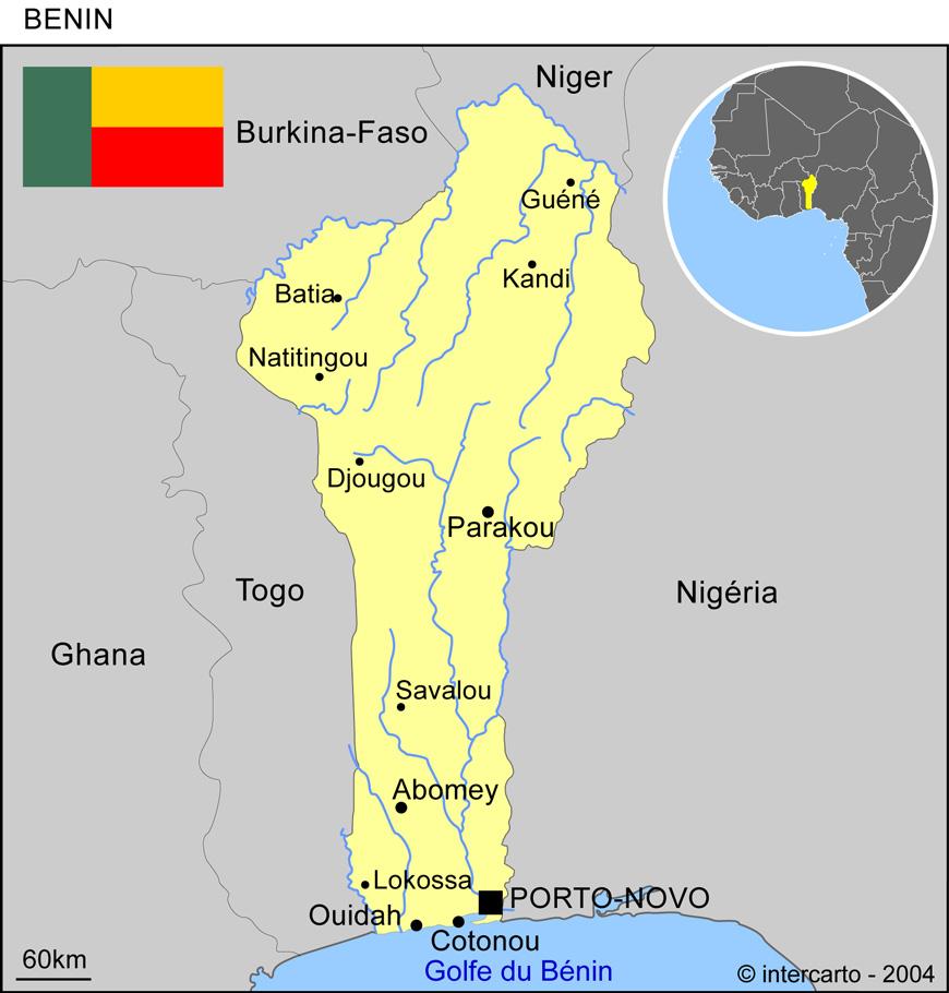 Carte géographique et touristique du Bénin, Porto Novo. Géographie