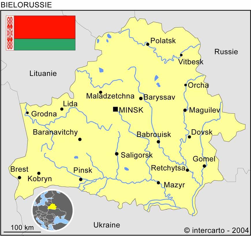 Carte géographique et touristique de la Biélorussie, Minsk