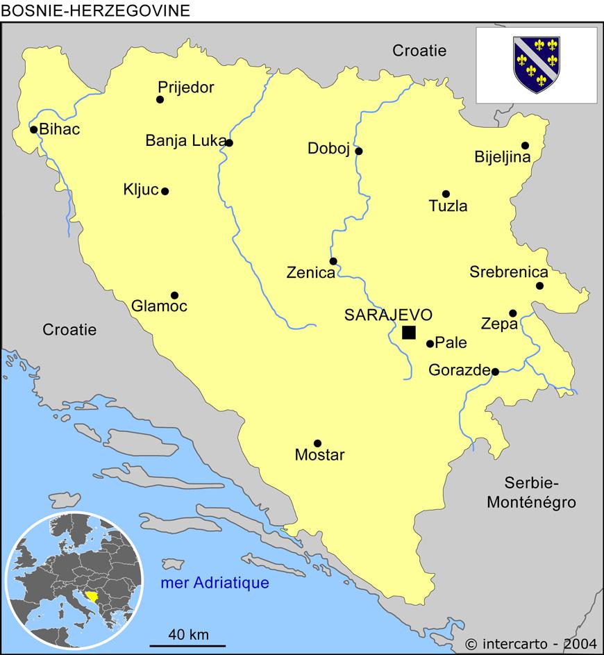 Carte géographique et touristique de la Bosnie Herzégovine