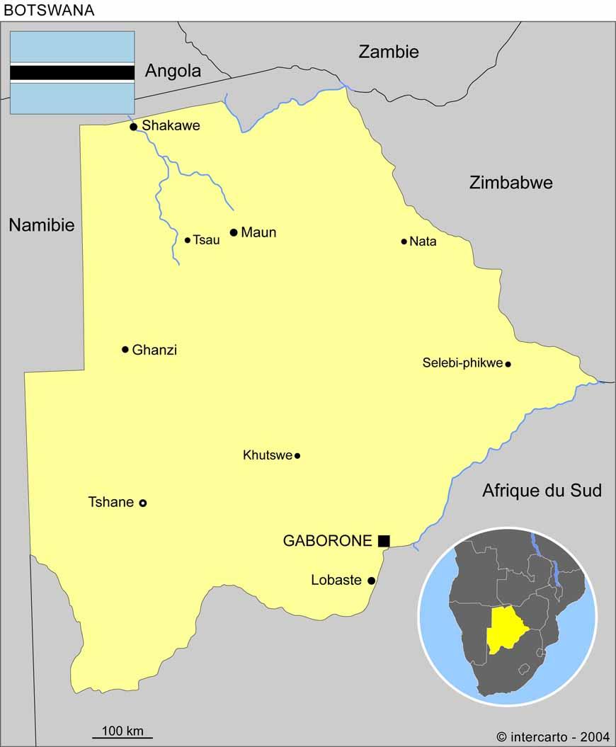 Carte géographique et touristique du Botswana, Gaborone