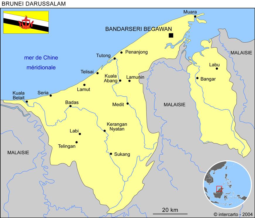 Carte Du Monde Kuala Lumpur.Carte Geographique Et Touristique Du Brunei Darussalam Bandar Seri