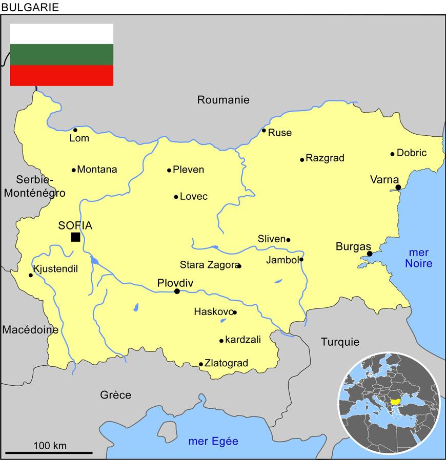 Carte géographique et touristique de la Bulgarie, Sofia ...