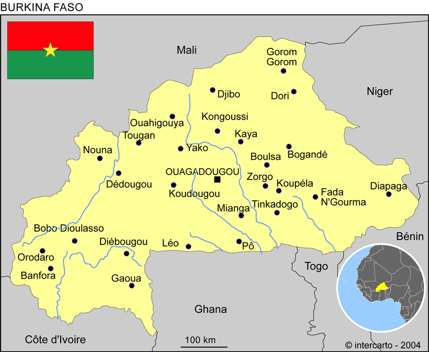 Populaire Carte géographique et touristique du Burkina Faso, Ouagadougou  AM53