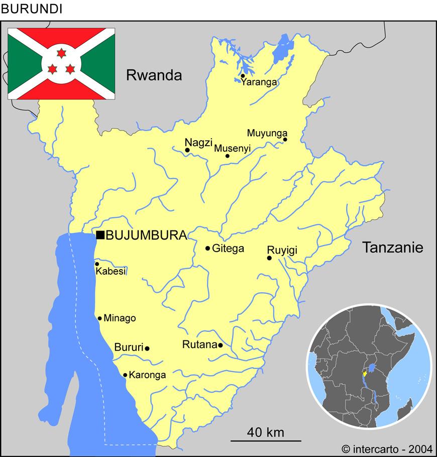 Carte géographique et touristique du Burundi, Bujumbura