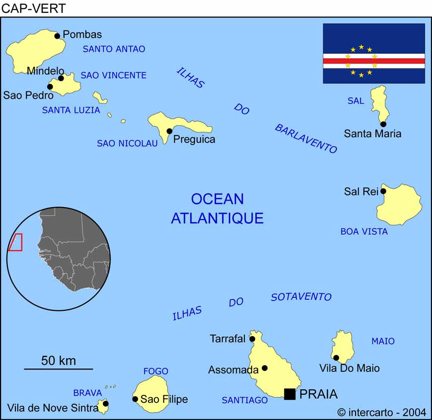 Carte Senegal Cap Vert.Carte Geographique Et Touristique Du Cap Vert Praia