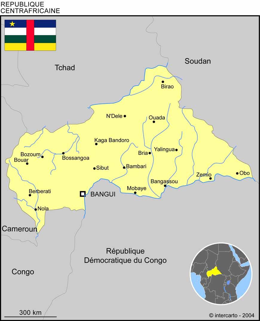 Carte géographique et touristique du Centrafrique, Bangui