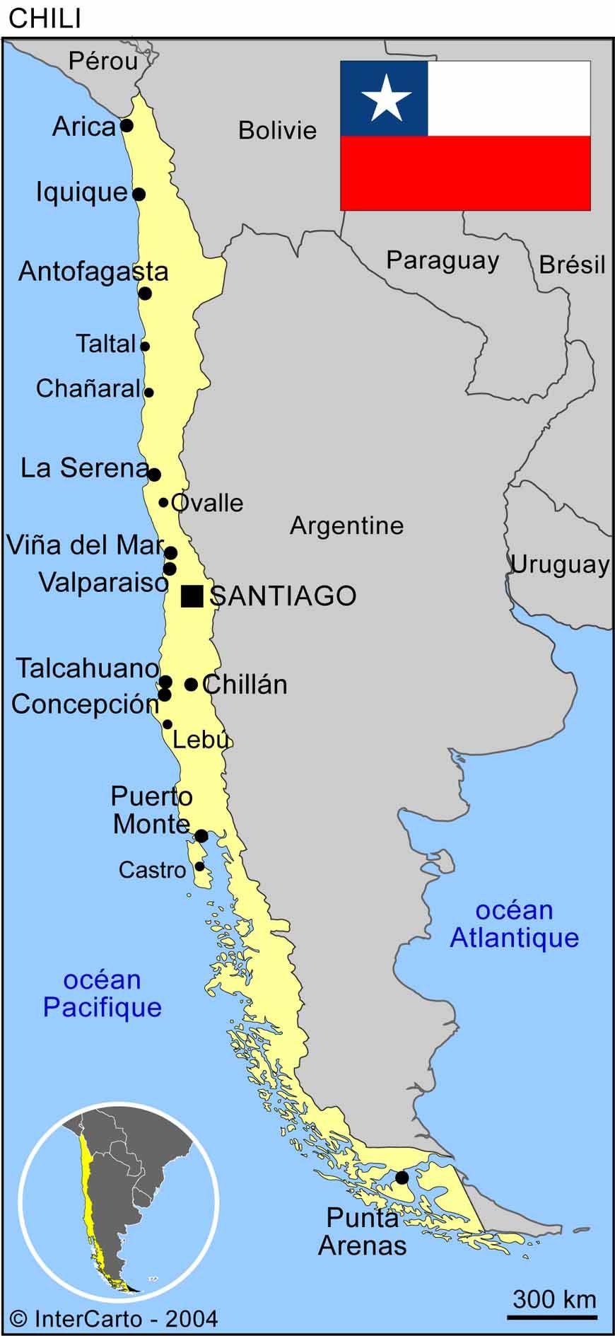 Carte géographique et touristique du Chili, Santiago. Géographie