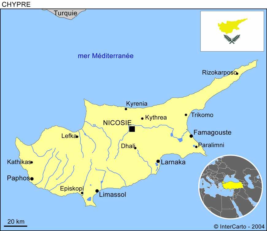 Carte géographique et touristique de Chypre, Nicosie. Géographie