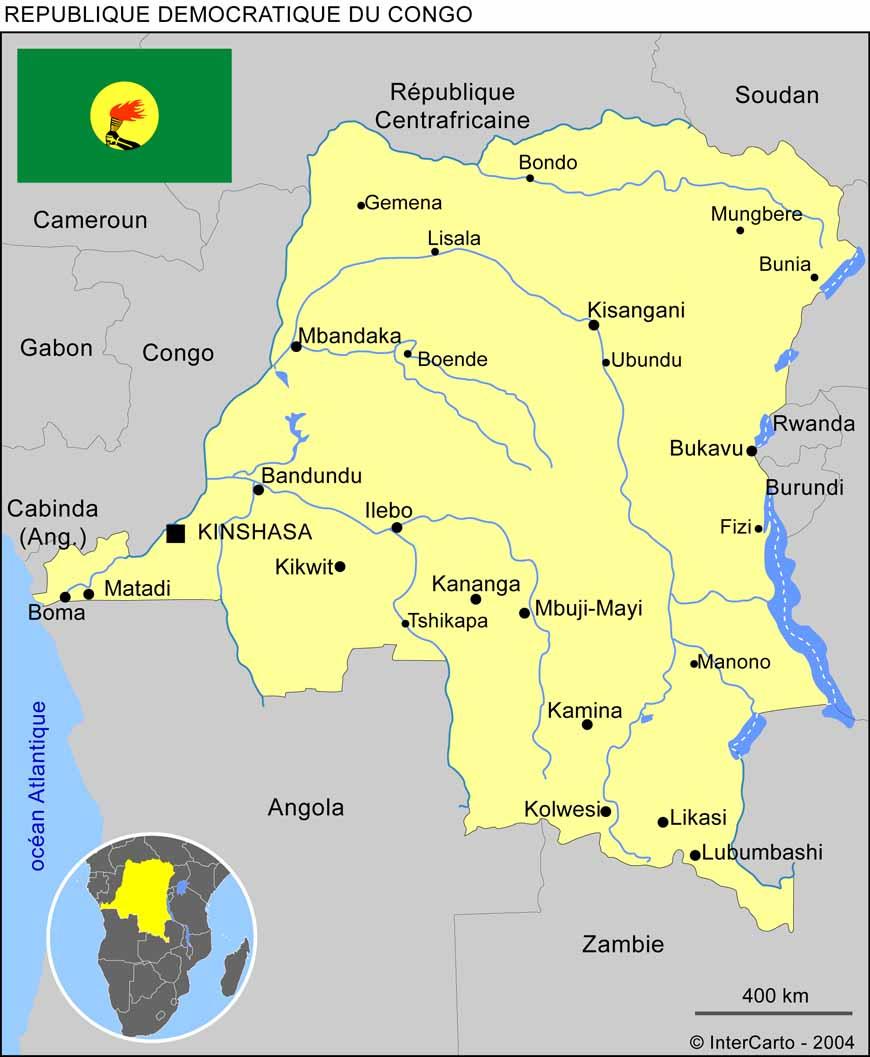 Carte géographique et touristique du Congo Kinshasa, Kinshasa