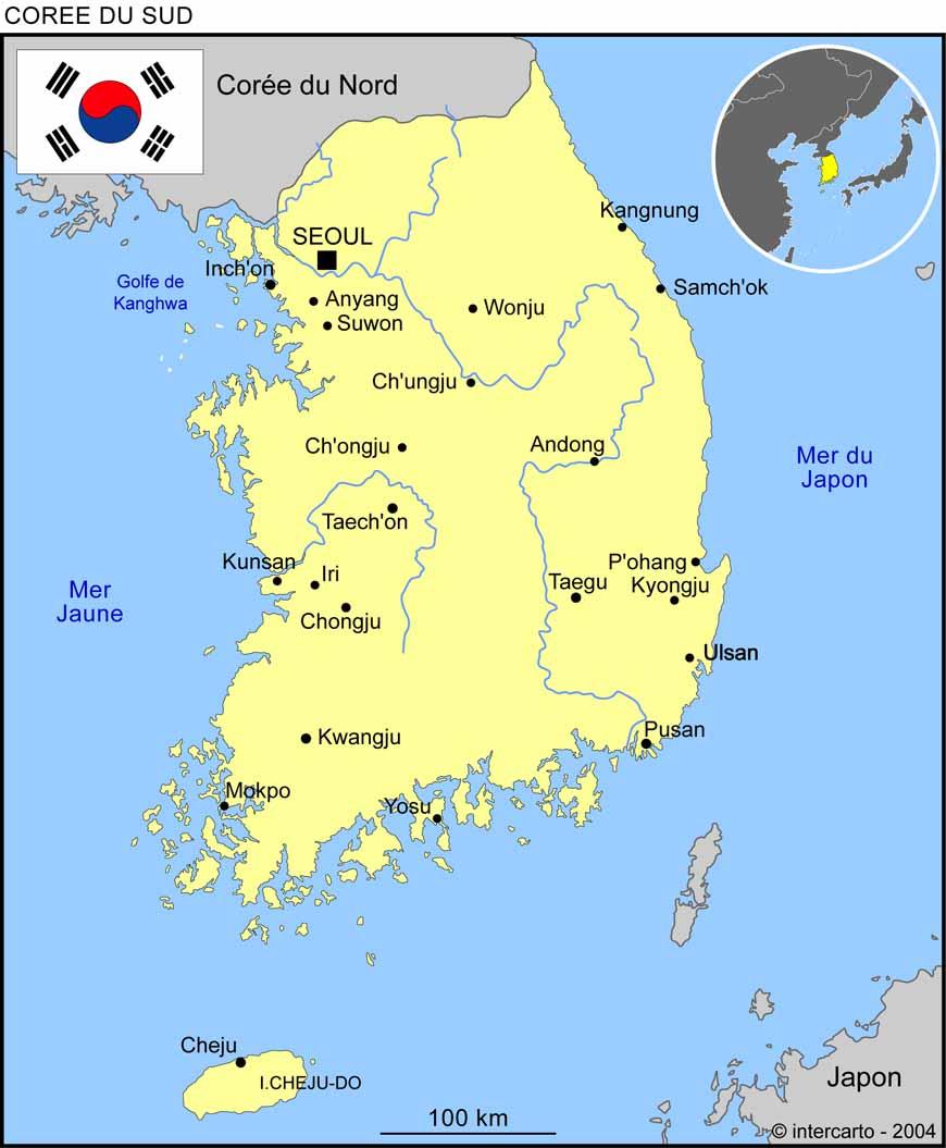 carte de la corée du sud Carte géographique et touristique de la Corée du Sud, Séoul