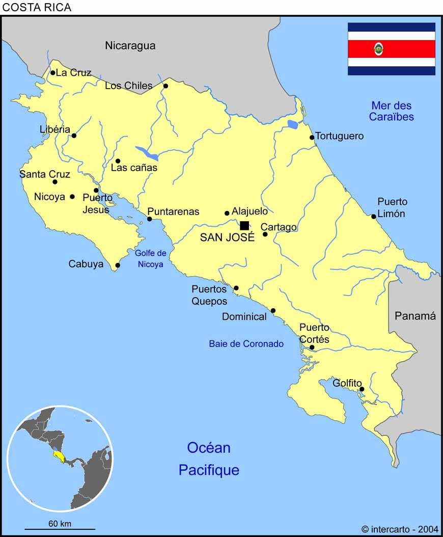 Carte géographique et touristique du Costa Rica, San José