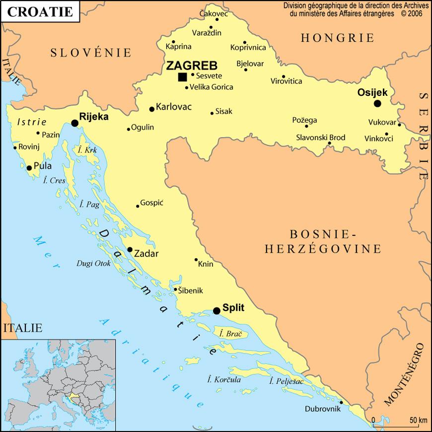 Carte géographique et touristique de la Croatie, Zagreb ...