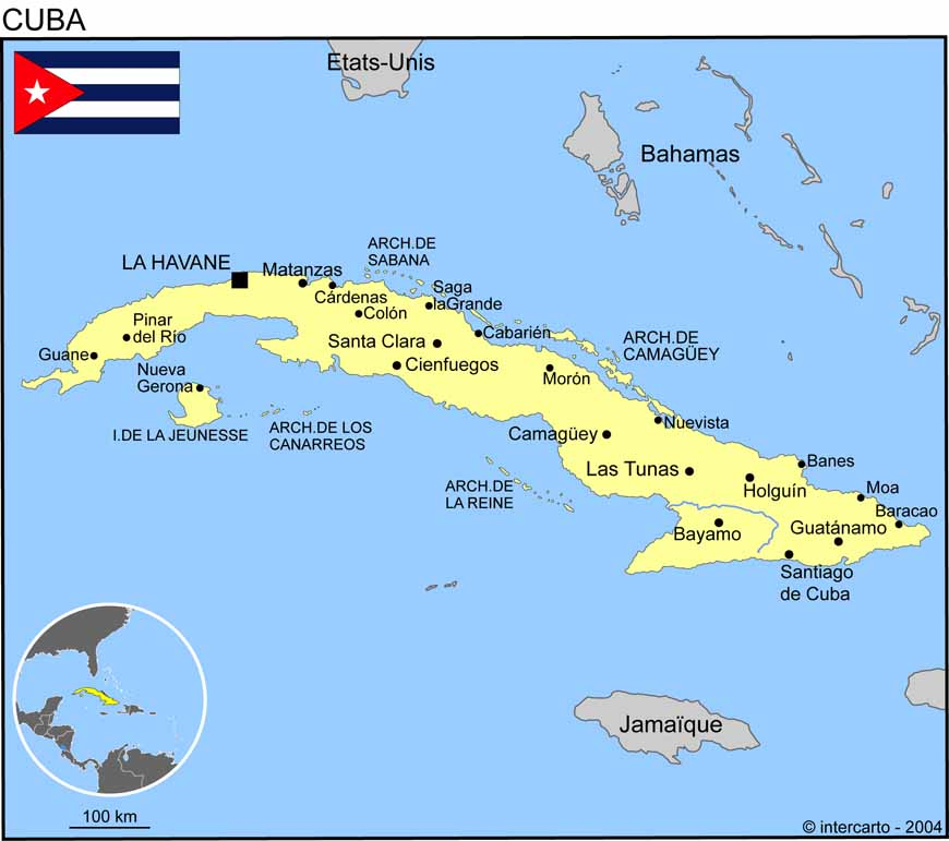 Carte géographique et touristique de Cuba, La Havane. Géographie