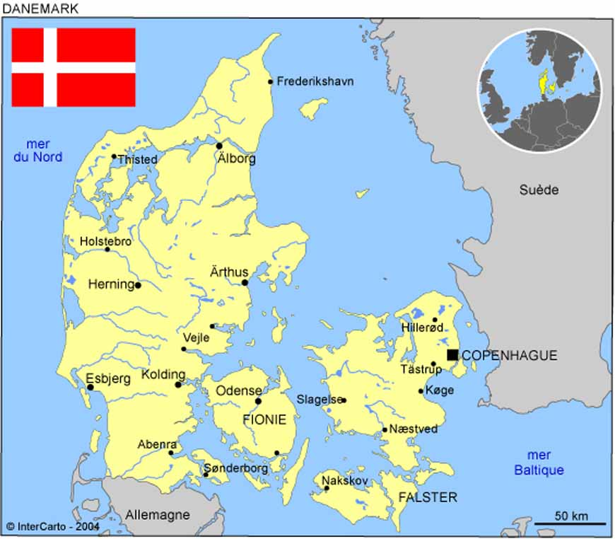 le danemark carte europe