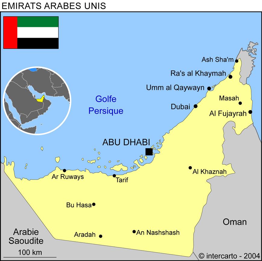 Carte géographique et touristique des Emirats Arabes Unis, Abou