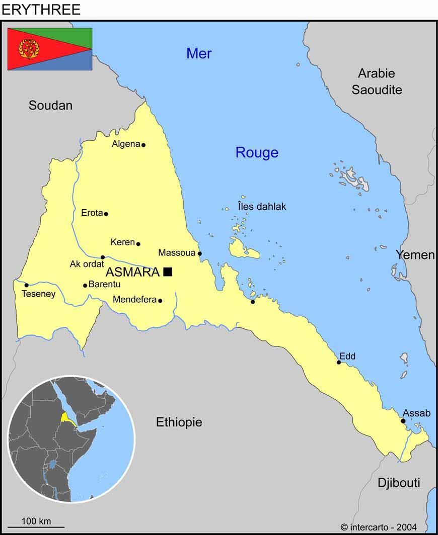 Carte géographique et touristique de l'Erythrée, Asmara