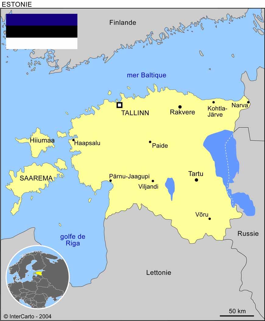 Carte géographique et touristique de l'Estonie, Tallinn ...