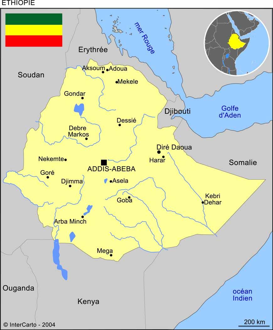 Carte géographique et touristique de l'Ethiopie, Addis Abeba