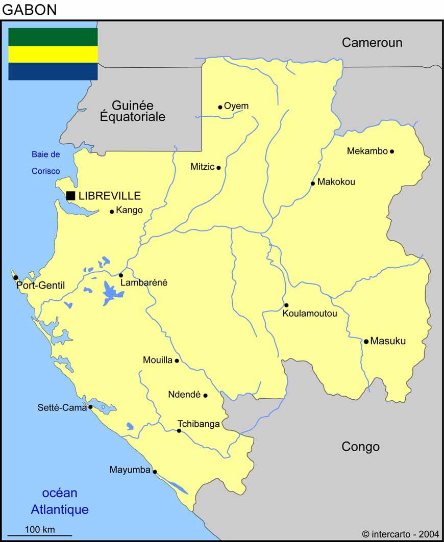 Carte géographique et touristique du Gabon, Libreville. Géographie