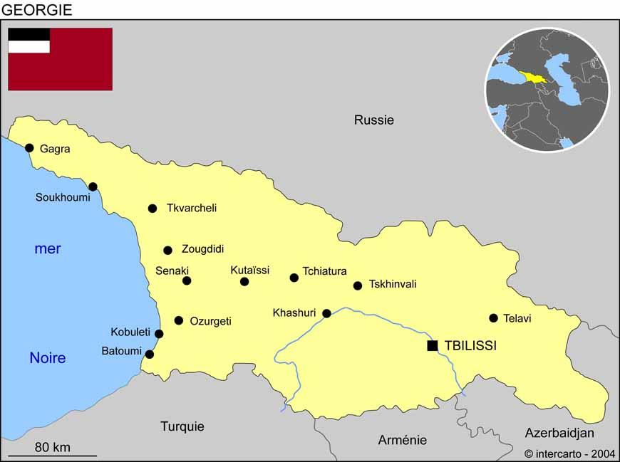 Carte géographique et touristique de la Géorgie, Tbilisi