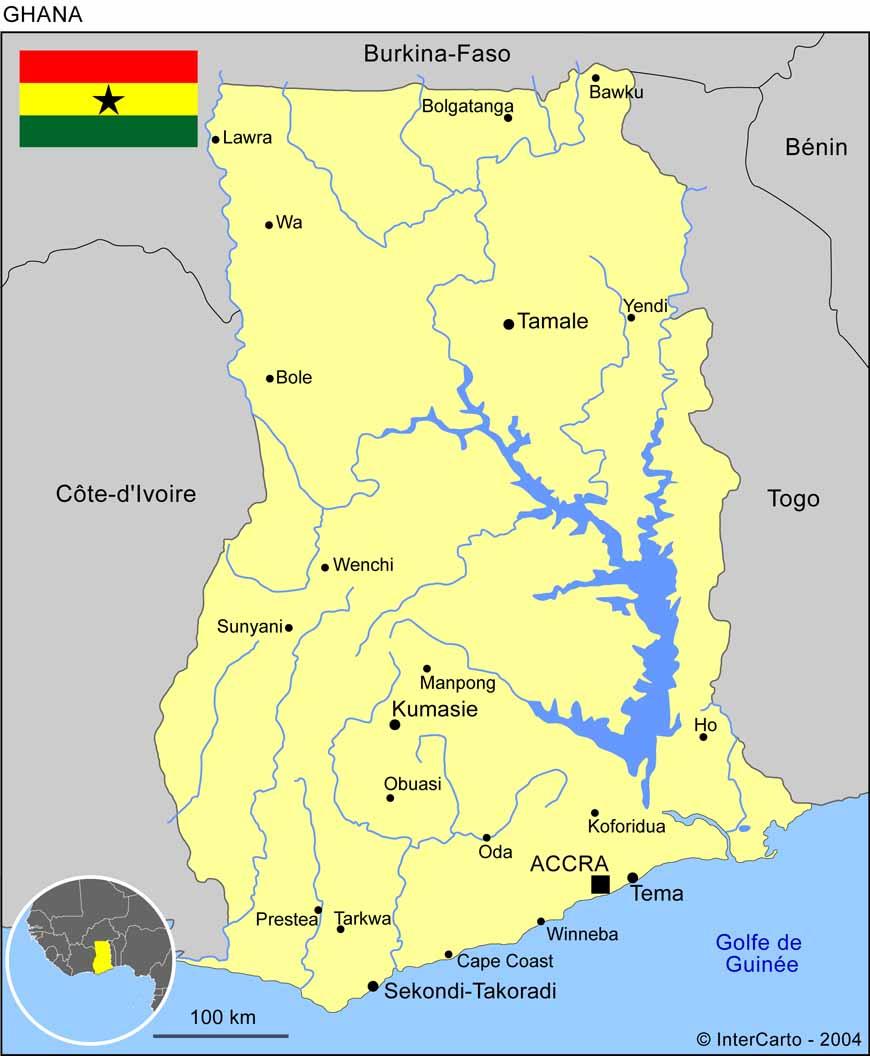 Carte géographique et touristique du Ghana, Accra. Géographie du Ghana