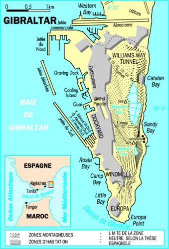 Carte géographique et touristique de Gibraltar, Gibraltar