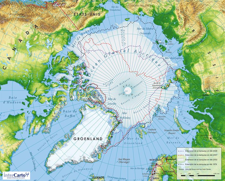 Carte géographique et touristique du Groënland, Nuuk. Géographie