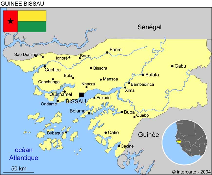 Carte géographique et touristique de la Guinée Bissau, Bissau
