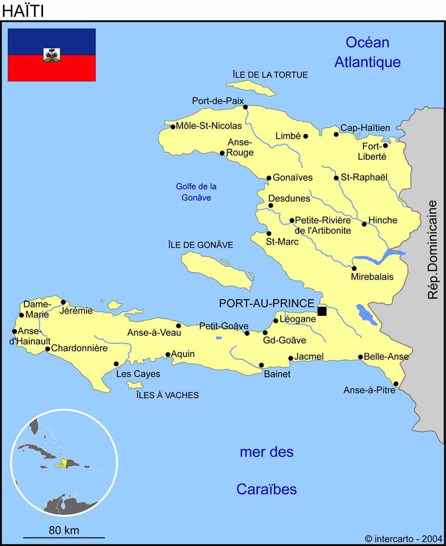 Carte géographique et touristique d'Haiti, Port au Prince