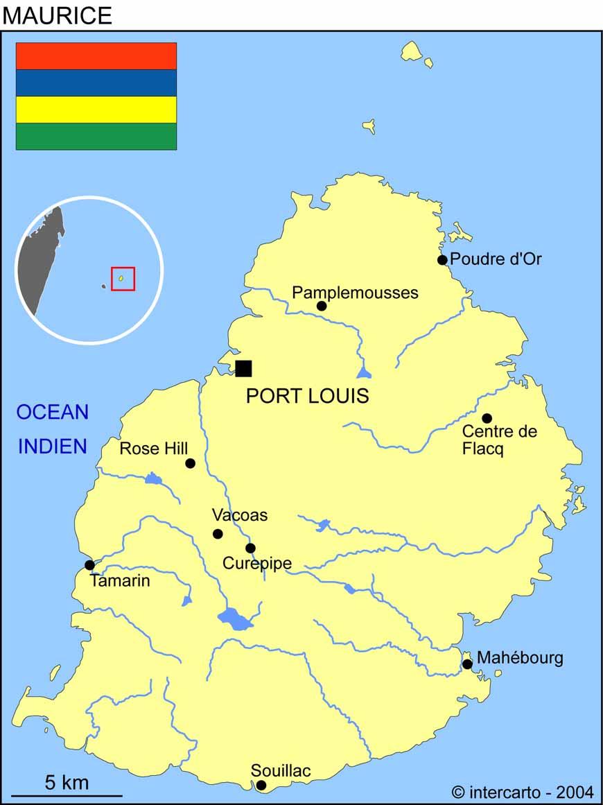 Carte géographique et touristique de l'Ile Maurice, Port Louis