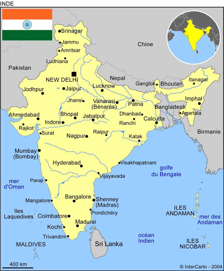 Carte De Linde De Louest.Carte Geographique Et Touristique De L Inde New Delhi