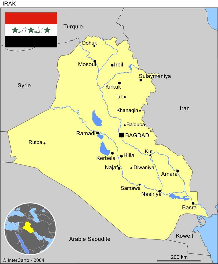 Carte géographique et touristique de l'Irak, Baghdad. Géographie