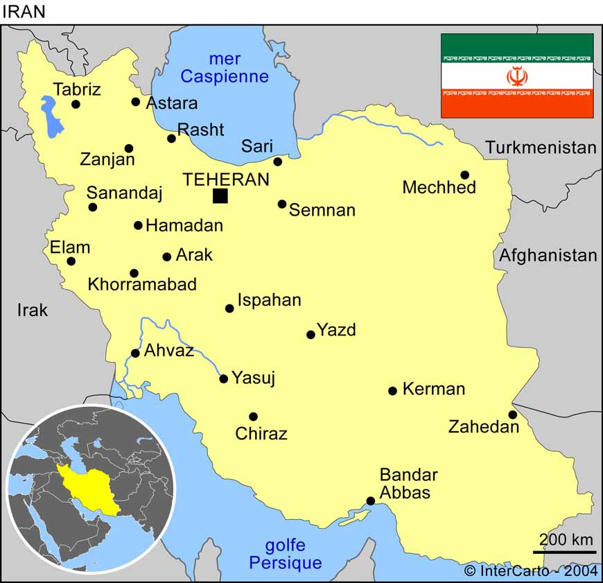 Carte géographique et touristique de l'Iran, Téhéran. Géographie