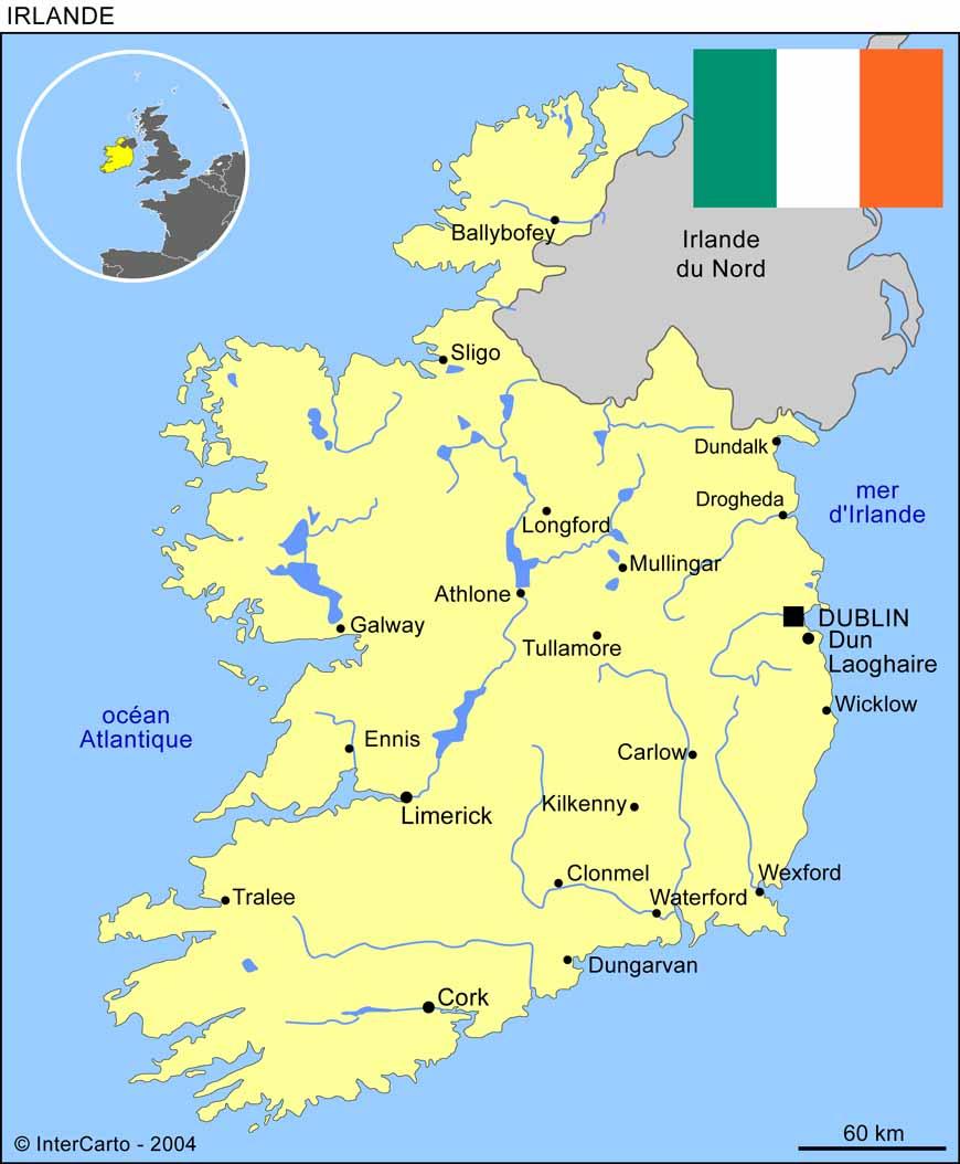 Carte géographique et touristique de l'Irlande, Dublin. Géographie