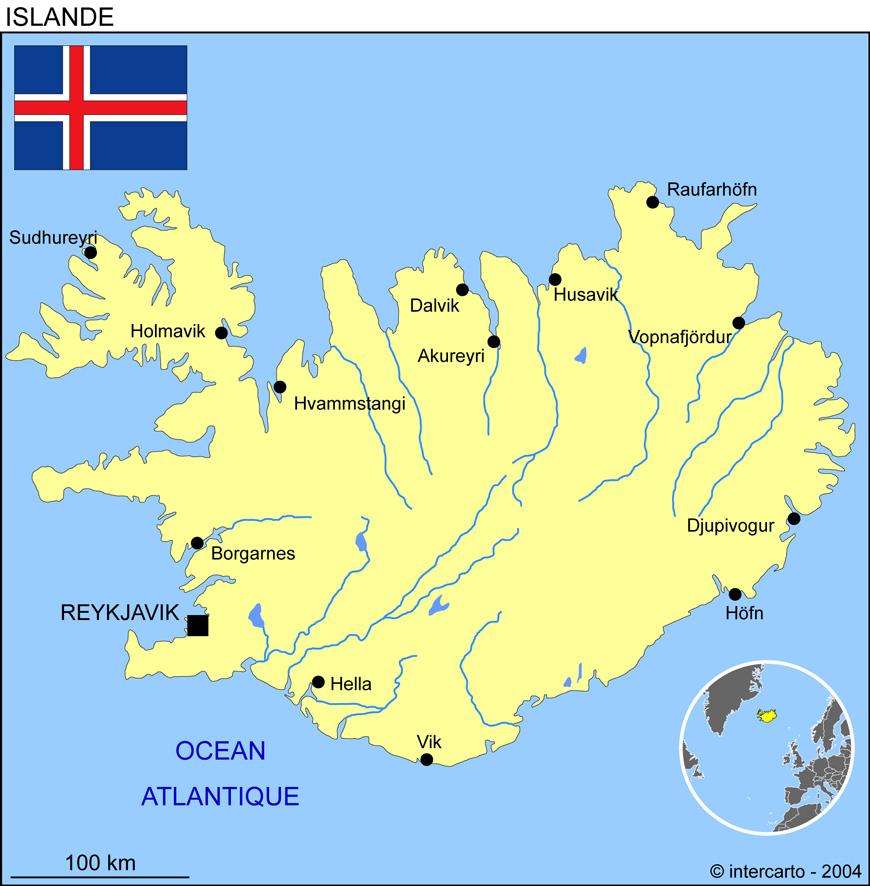 Carte géographique et touristique de l'Islande, Reykjavik