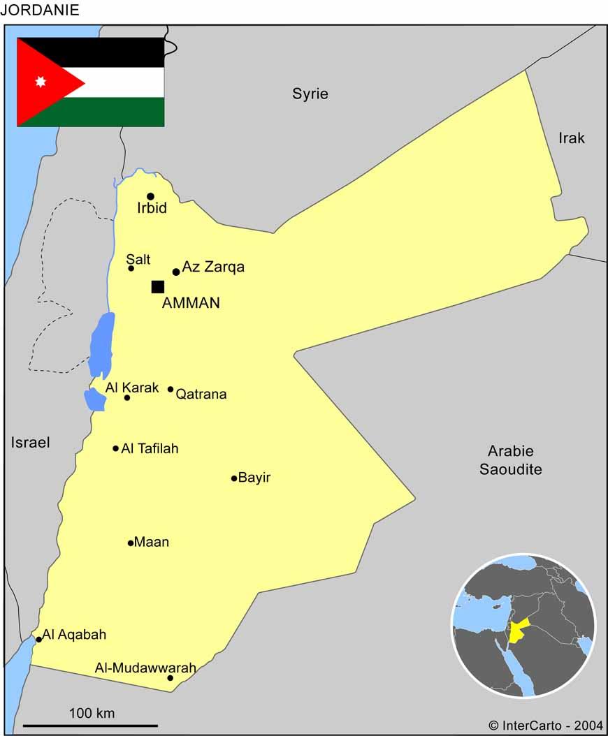 Carte géographique et touristique de la Jordanie, Amman