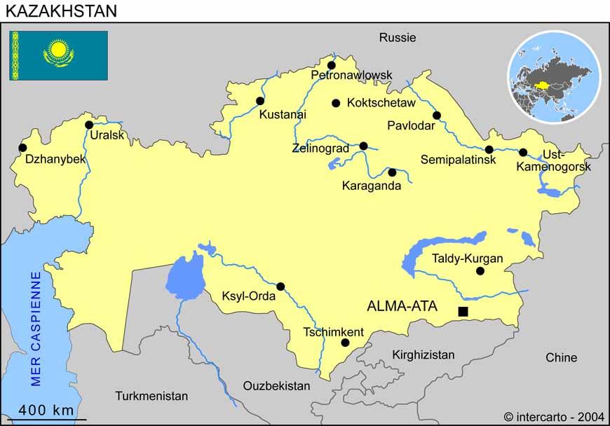 Carte géographique et touristique du Kazakhstan, Astana