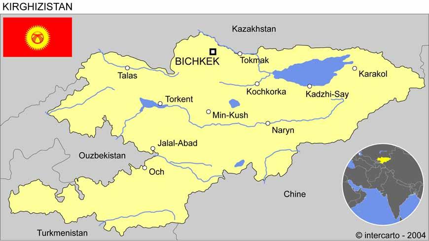Carte géographique et touristique de la Kirghizie, Bichkek