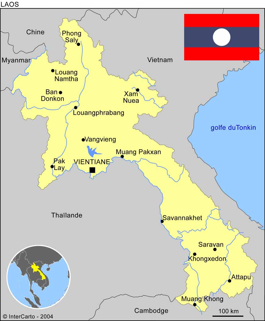 carte du laos - Photo