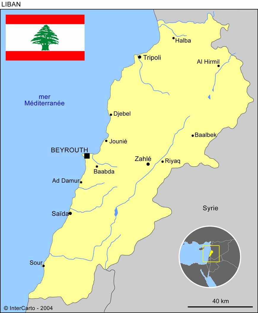 Carte géographique et touristique du Liban, Beyrouth. Géographie