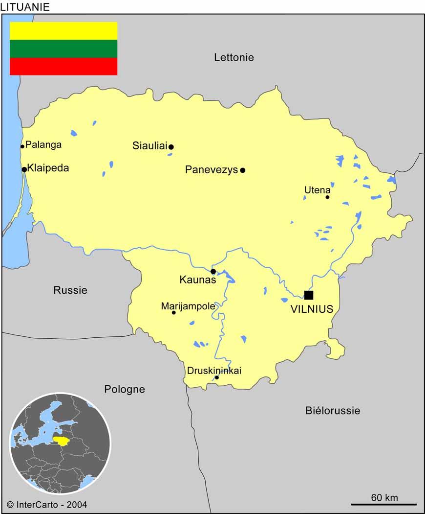 Carte géographique et touristique de la Lituanie, Vilnius