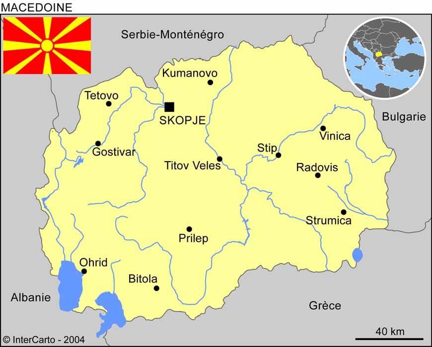 Carte géographique et touristique de la Macédoine, Skopje